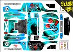 BLUE The Gambler Lucky 13 themed vinyl SKIN Kit To Fit Traxxas Slash 4x4 Short Course Truck